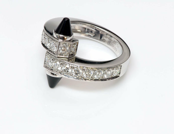 Cartier Menotte 18K Gold Diamond Onyx Ring