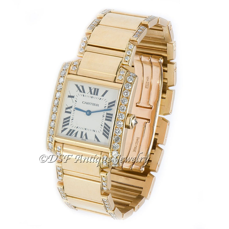 Cartier Tank Française Gold & Diamond Watch 1821