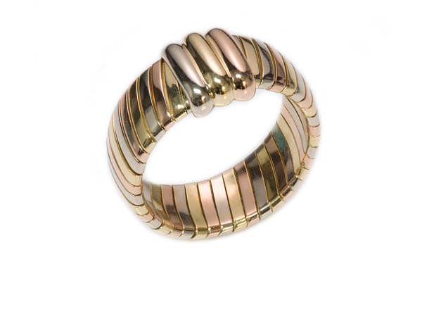 Cartier Tricolor Tubogas 18K Gold Ring Band