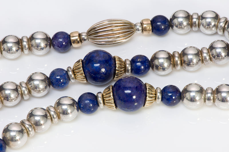 Cartier Silver yg Gold Lapis Bead Necklace Bracelet