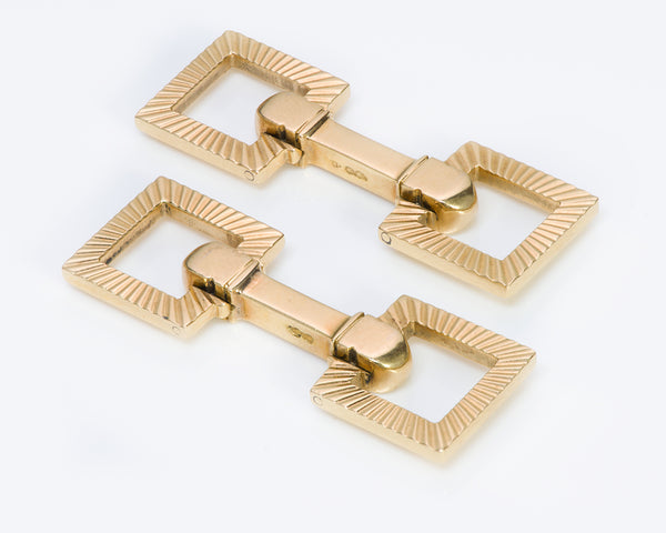 Vintage Cartier Stirrup 18K Yellow Gold Cufflinks