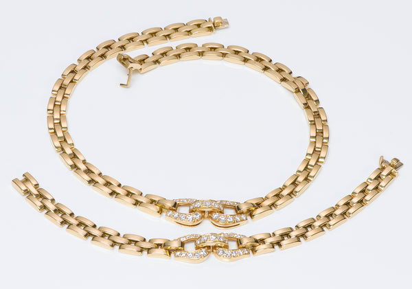 Cartier Panthere Diamond Gold Necklace & Bracelet