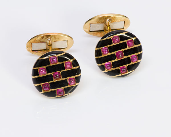 Cartier Paris 18K Gold Ruby Enamel Cufflinks