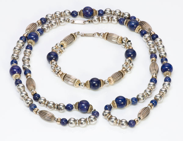 Cartier Silver Gold Lapis Bead Necklace Bracelet