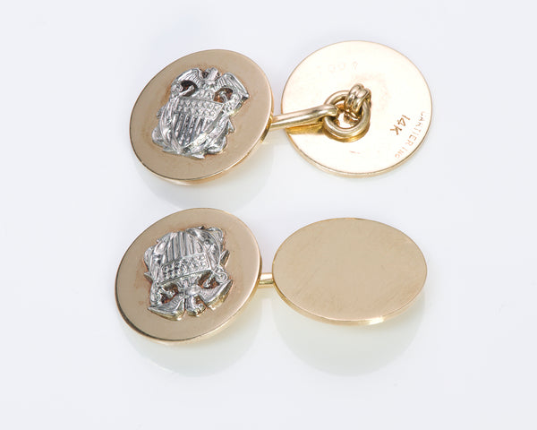 Cartier Gold & Platinum Cufflinks Eagle