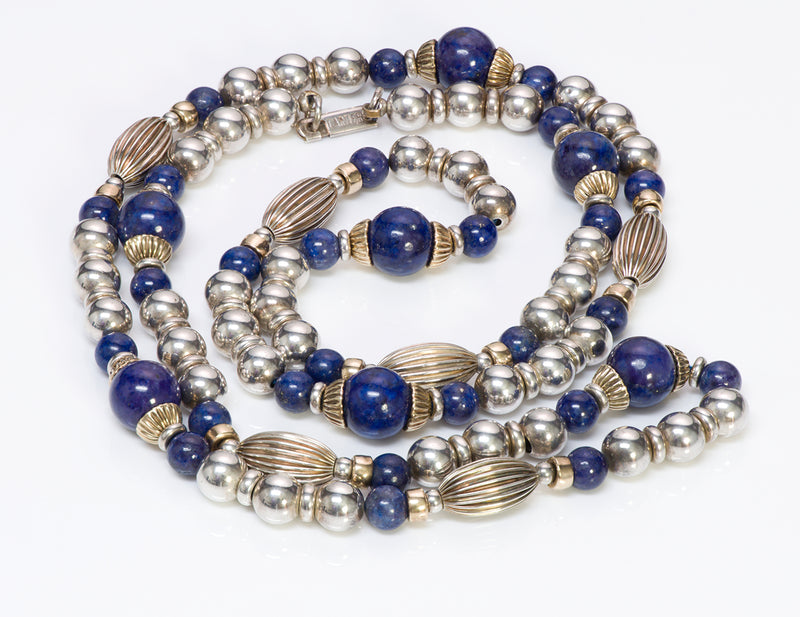 Cartier Silver Gold Lapis Bead Necklace
