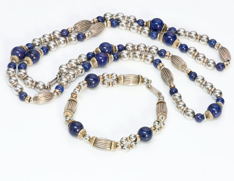 Cartier Silver Gold Lapis Bead Necklace Bracelet Set