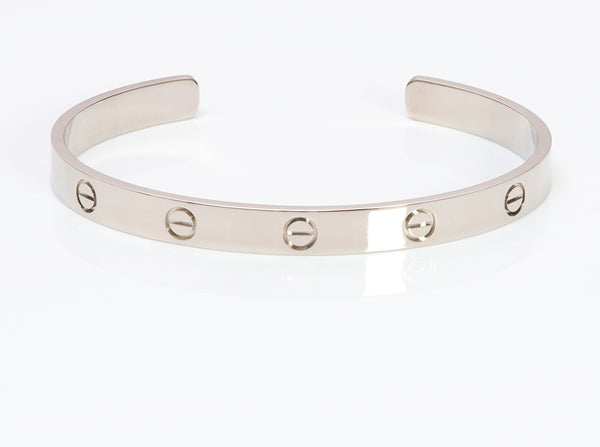 Cartier Love Cuff Bracelet White Gold Size