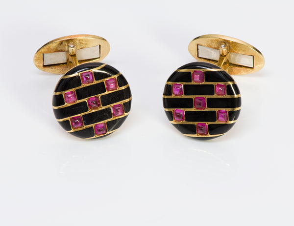 Cartier Paris 18 Gold Ruby Enamel Cufflinks