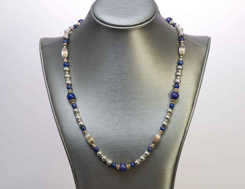 Cartier Silver Gold Lapis Bead Necklace 14k