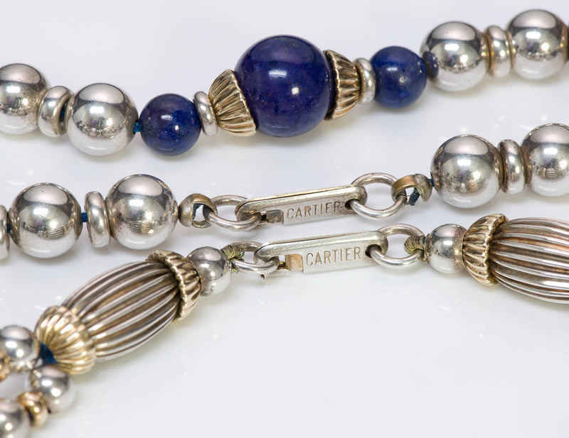 Cartier Silver Gold Lapis Bead Necklace Bracelet 1