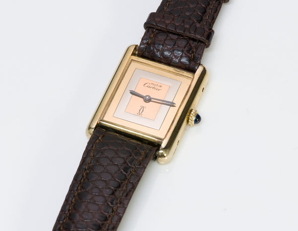 Must de Cartier Tank Silver Gold Wrist Watch