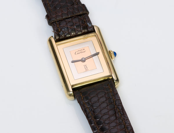 Cartier Silver Gold Plate Watch