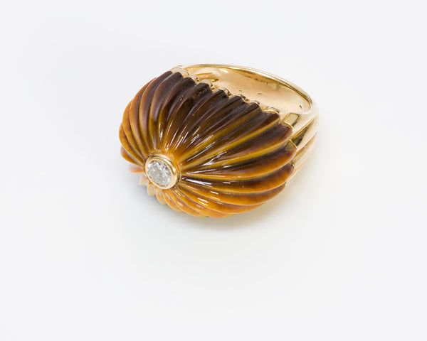 Carvin French 18K Gold Tiger's Eye Dome Diamond Ring