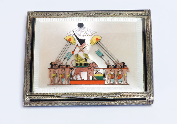Antique Silver Egyptian Revival Enamel Pharaoh Box