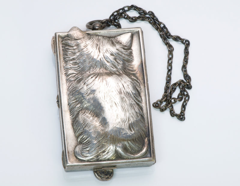 Vintage Silver Cat Compact