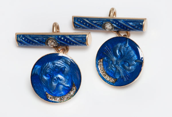 Antique Blue Enamel Gold Diamond Cat & Dog Cufflinks