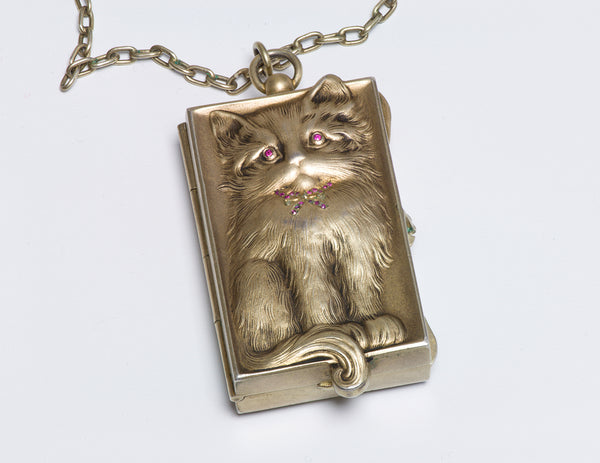 Antique Silver Cat Miniature Compact