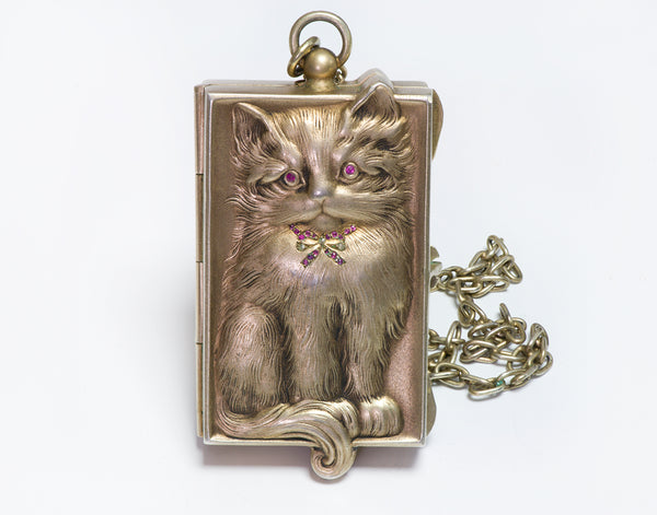 Antique Ruby Diamond Silver Cat Miniature Compact