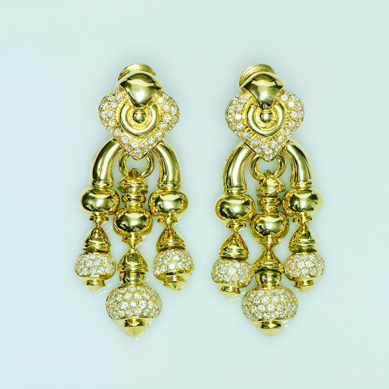 Chandelier 18k Gold Diamond Earrings
