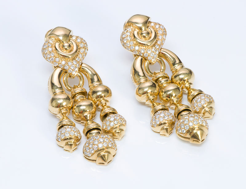 Vintage Chandelier 18K Gold Diamond Earrings
