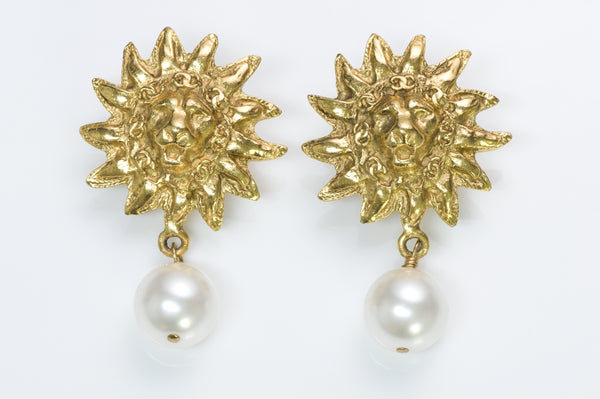 Chanel Lion Pearl Earrings