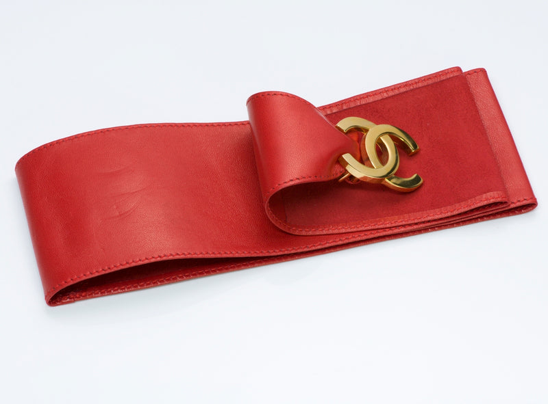 Chanel Red Leather Belt