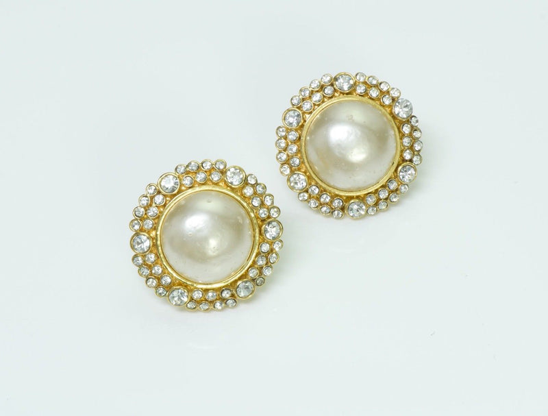 Chanel 1980's Pearl Crystal Earrings