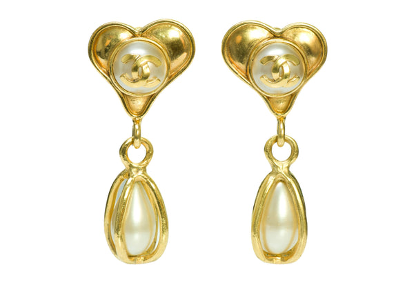 Chanel Heart Pearl Gold Tone Earrings