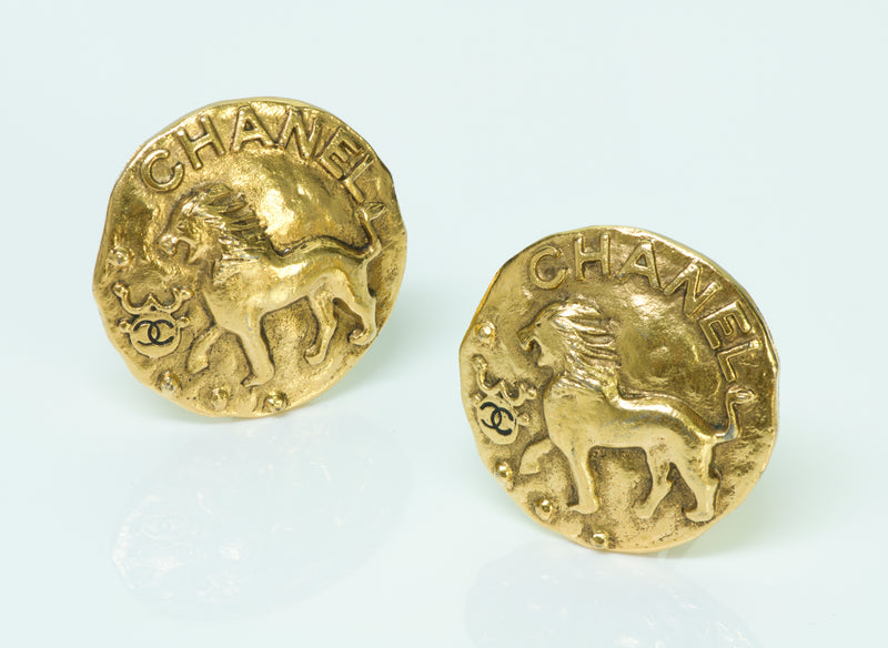 Chanel Lion Coin Earrings