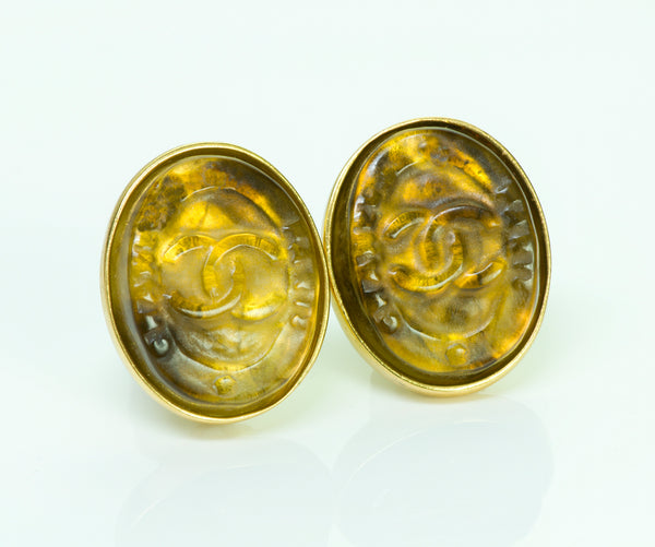 Chanel Gripoix Clip Earrings