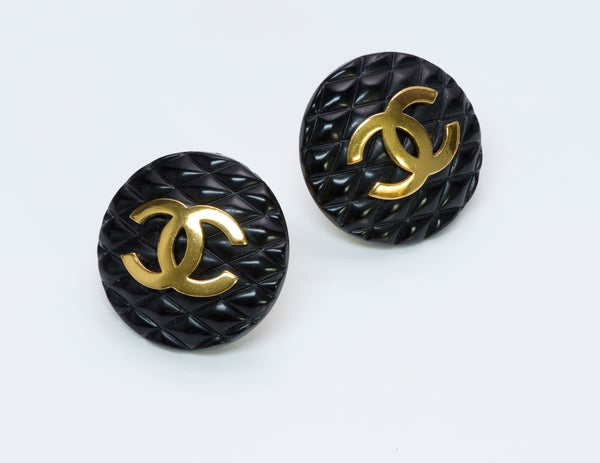 Chanel Black Quilted Earrings