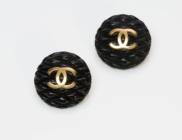 Chanel CC 1993 Black Quilted Earrings