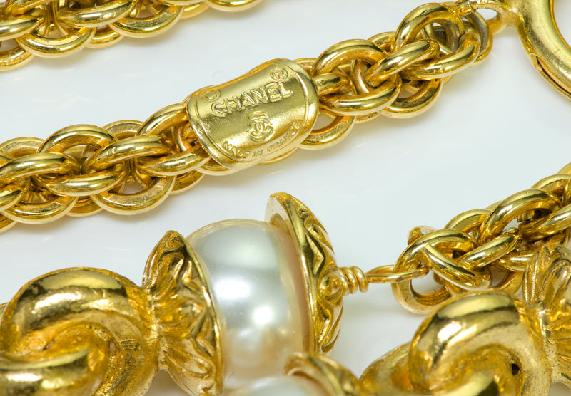 Chanel Gold Tone Pearl Necklace