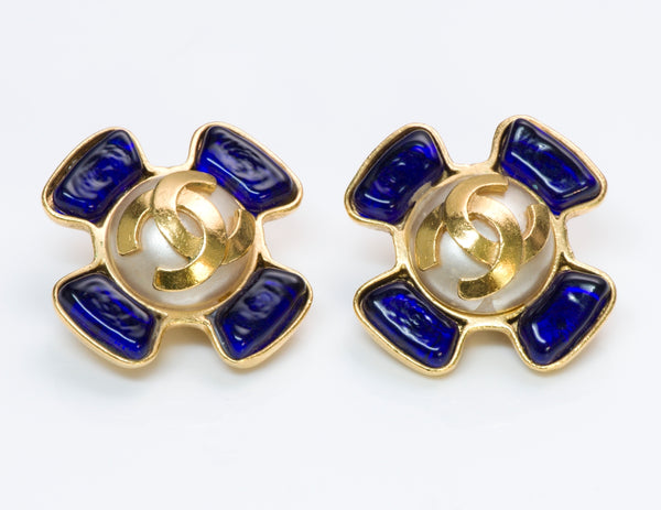 Chanel Glass Maltese Cross Earrings