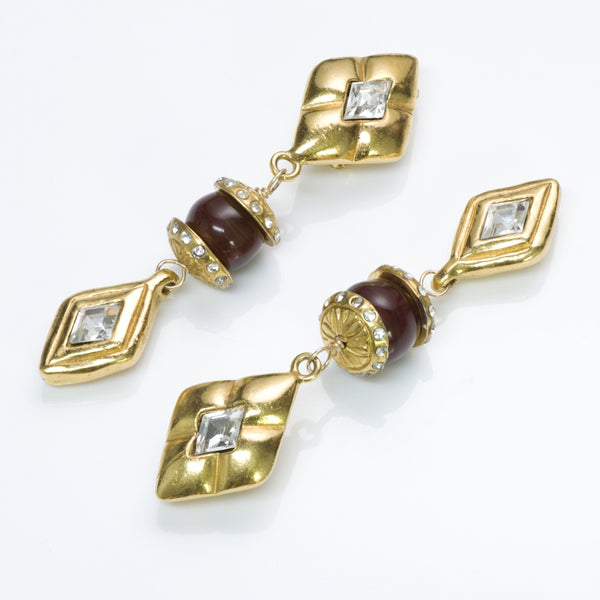 CHANEL 1970's Long Maison Gripoix Red Glass Crystal Earrings