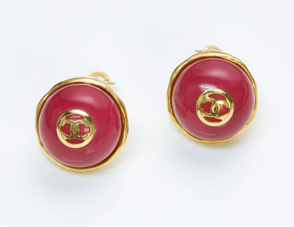 Chanel CC Red Gripoix Earrings