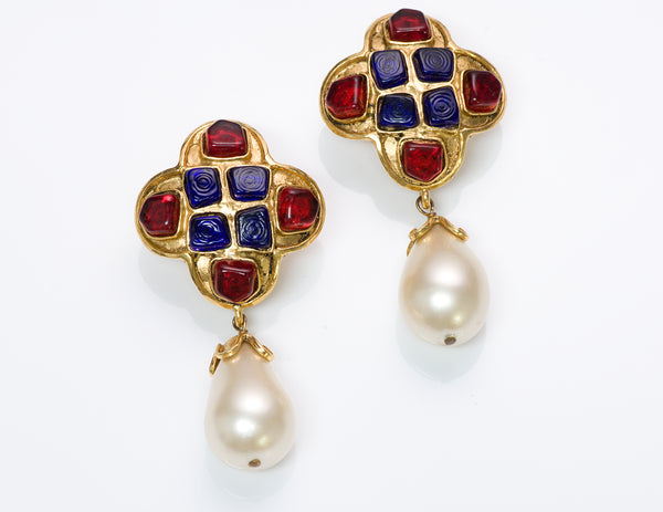 Chanel Gripoix Pearl Byzantine Style Earrings
