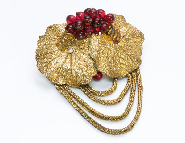 Louis Rousselet 1940's Gold Tone Glass Beads Leaf Brooch