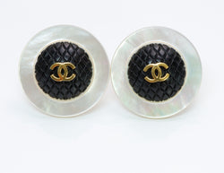 Chanel Mother of Pearl Quilted Earrings