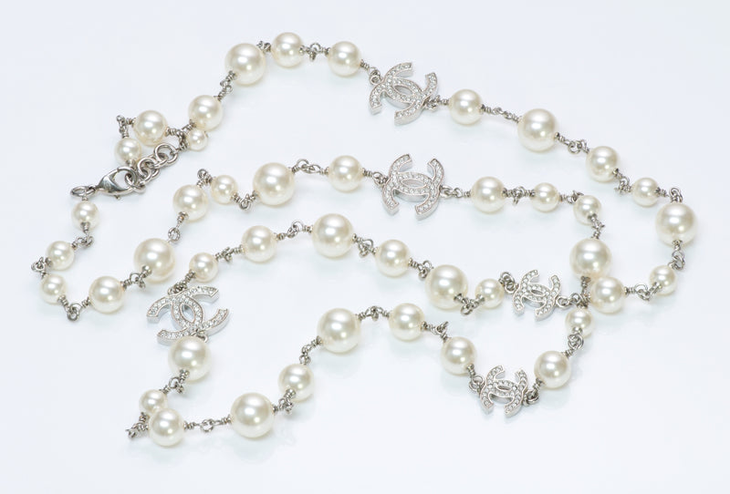 Chanel CC Infinity Pearl Crystal Necklace