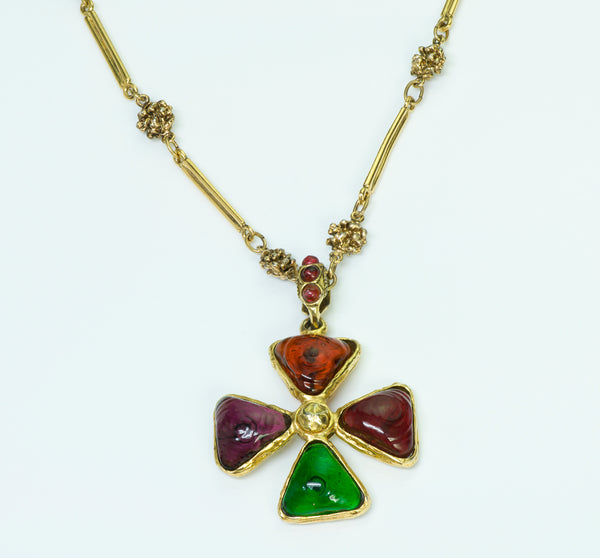 Chanel Gripoix Maltese Cross Necklace