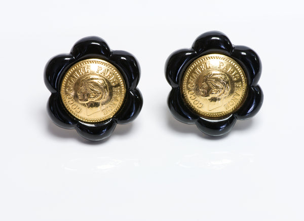 Coco Chanel Mademoiselle Coin Camellia Flower Earrings