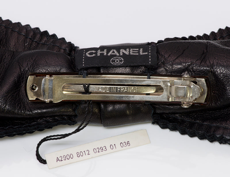 CHANEL 80's Large Black Leather Hair Clip Barrette