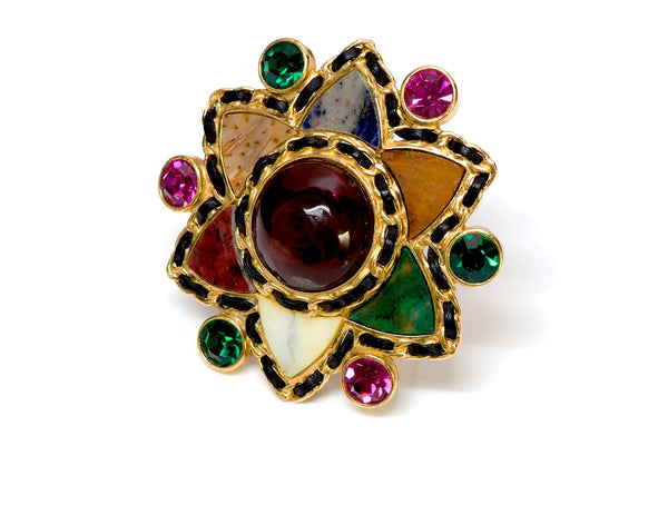 Chanel Couture Gripoix Agate Star Brooch