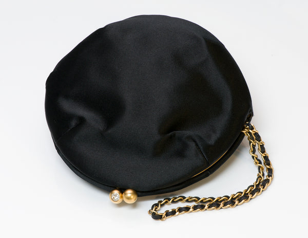 Chanel Black Satin Beaded Crystal Round Clutch Bag