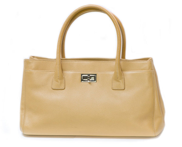 CHANEL CC Beige Caviar Leather Mademoiselle Cerf Executive Tote Bag
