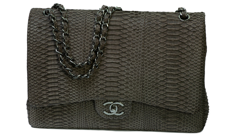 Chanel CC Double Flap Gray Snakeskin Maxi Bag