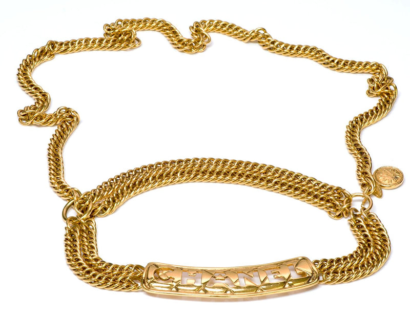 Chanel CC Quilted Letter Medallion Chain Belt 1