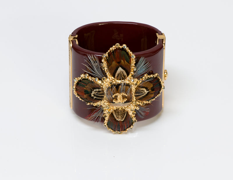 Chanel Burgundy Metiers D'Art Paris-Edimbourg Feather Cuff Bracelet